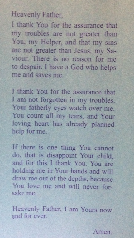 Prayer Card from Garrison Church, The Rocks.
